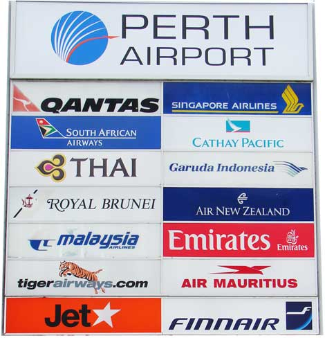 airlines Perth airport
